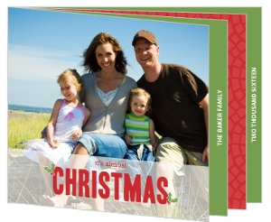 Holly Leaves Christmas Photo Card