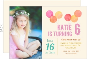 Coral Pink Balloon Birthday Invitation