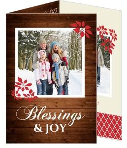 Wood Grain And Poinsettia  Christmas Photo Card