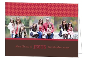 Red Houndstooth Christmas Photo Card