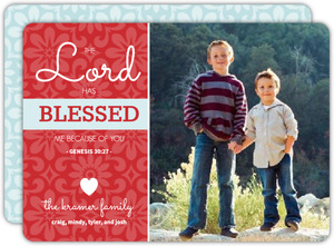 Red Floral Christmas Photo Card