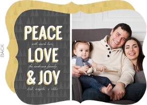 Peace Love And Joy Christmas Photo Card