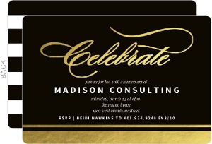 Gold Foil Celebrate Corporate Event Invitation