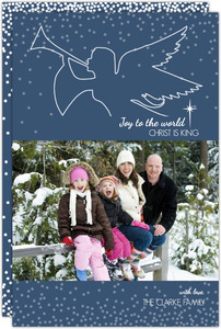 Navy Heralding Angel Christmas Photo Card