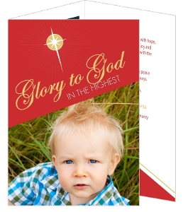 Gold Star Christmas Photo Card