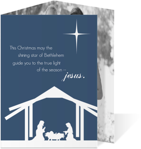 Nativity Silhouette Christmas Photo Card