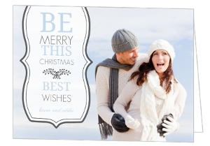 Blue And Grey Christmas Photo Card