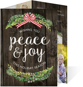 Rustic Green Watercolor Wreath Holiday Trifold