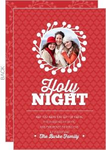 O Holy Night Wreath Christmas Photo Card