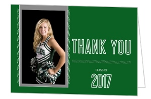 Simple Green Modern Lines Graduation Thank You