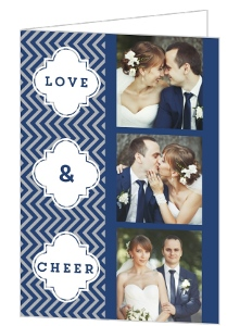 Blue Love and Cheer Christmas Photo Card