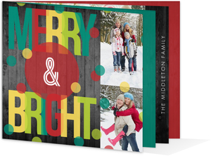 Merry   Bright Dots Booklet Photo Holiday Card