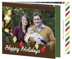 Festive Light Bulbs Holiday Photo Card