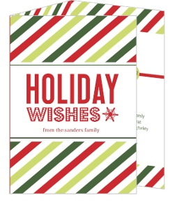 Green and Red Striped Timeline Holiday Card and Newsletter
