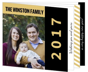 Black and Gold Stripes New Year Card