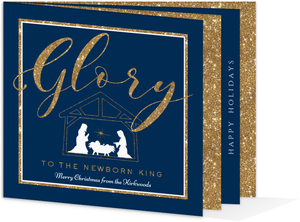 Faux Glitter Glory Holiday Photo Booklet Card