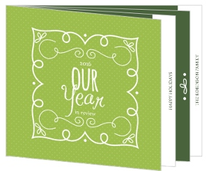 Whimsical Green Year in Review Holiday Photo Card