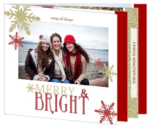 Red and Gold Snowflake Glitter Holiday Photo Card