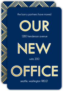 Faux Gold Navy New Office Moving Announcement