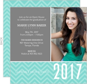 Gray and Turquoise Graduation Invitation