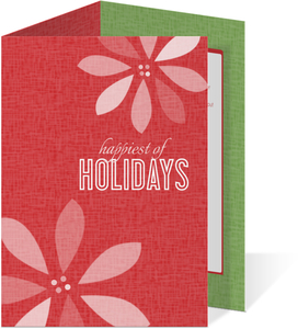 Red Retro Poinsettia Holiday Card