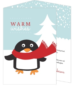 Cute Winter Penguin  Holiday Card