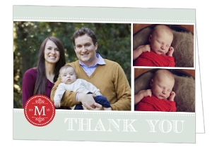 Red Monogram Stamp Thank You Card