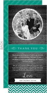 Bold Chevron Woodgrain Holiday Thank You Card