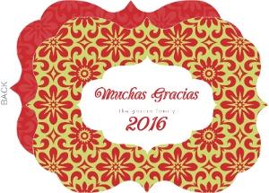 Red And Green Feliz Navidad Thank You Card