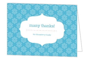 Red And Blue Retro Pattern Holiday Thank You Card