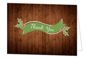 Rustic Holly Christmas Thank You Card