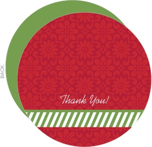 Flowers and Stripes Holiday Thank You Card