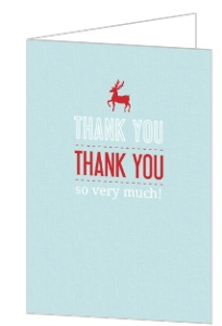 Red Reindeer Holiday Thank You Card