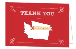 Personalized State Greeting Holiday Thank You Card