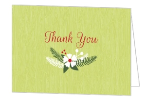 Green and Red Rustic Holiday Thank You Card