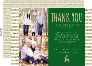 Festive Glittery Gold Reindeer Holiday Thank You Card