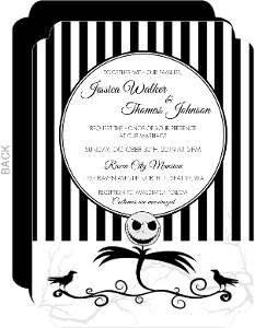 Striped Scarecrow Halloween Wedding Invitation