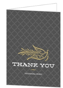 Elegant Gray And Gold Dove Holiday Thank You Card