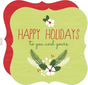 Green and Red Rustic  Heart Holiday Card