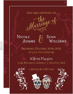 Sugar Skull Halloween Wedding Invitation