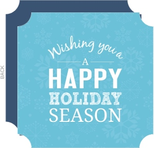 Blue Snowy Sky Heart Shaped Holiday Card
