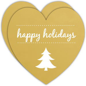 Shimmering Gold Heart Holiday Card