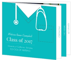 Teal Scrubs Nursing Graduation Invitation