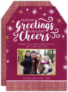 Modern Seasons Greetings Holiday Photo Card