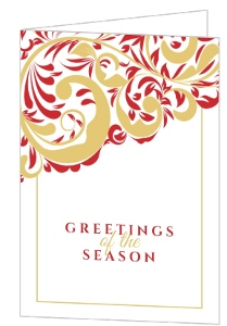 Red and Gold Flourish  Holiday Card