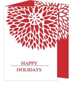 Red Elegant Mums Holiday Card