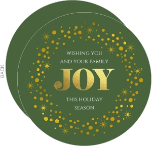 Gold Foil & Green Monogram Holiday Card