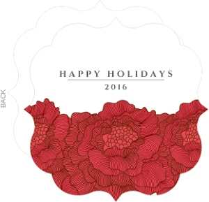 Red Christmas Flowers  Holiday Card