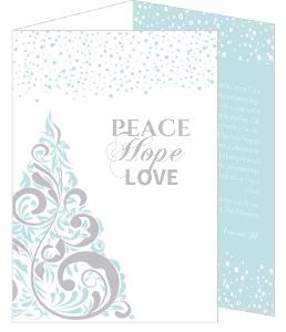 Blue and Grey Elegant Snowy Tree Holiday Card