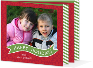 Flowers and Stripes  Holiday Photo Cards